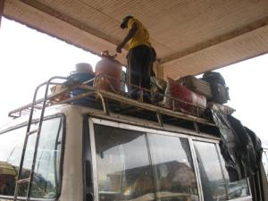 Piling the mini bus high at Bamenda coach station