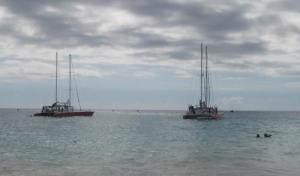 Ships on the Barbados coast