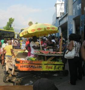 Fruit cart in downtown Kingston