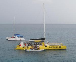Catamarans arriving at Rick's Care