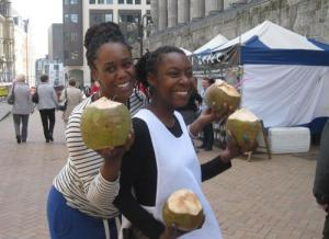 Girls enjoying jelly coconut