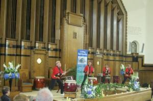 Taiko drummers lead by Liz Walters